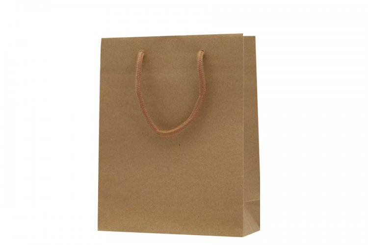Medium Brown Boutique Paper Bags Pack 25. Dimensions 190mm(W) x 80mm(G) x 245mm(H).
