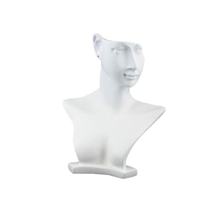Small White Sculpted Necklace and Earring Display Bust. Height 250mm
