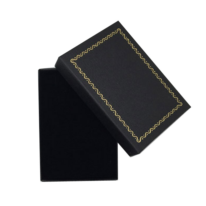 Packet of 12 - Premium Solid Medium Black Cardboard Set Gift Box with Gold Trim Border. Dim 70(w) x 97(d) x 27mm(h).