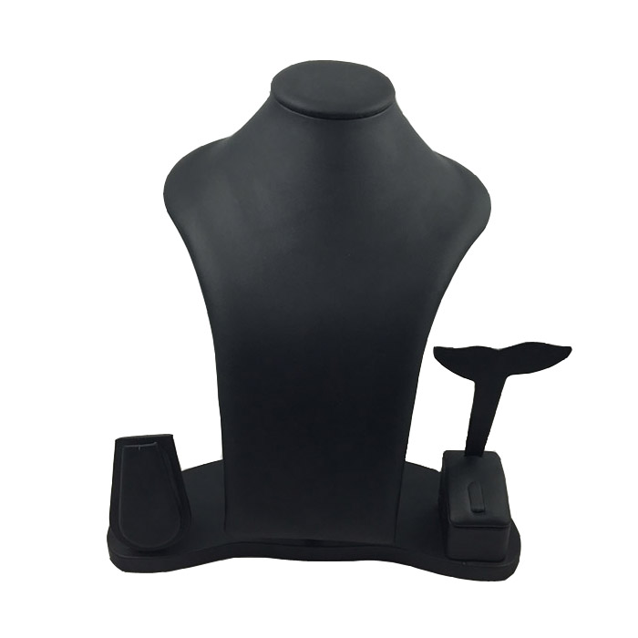 Combination Necklace Display Bust - Black Leatherette. Dimensions 280mm(w) x 190mm(d) x 300mm(h).