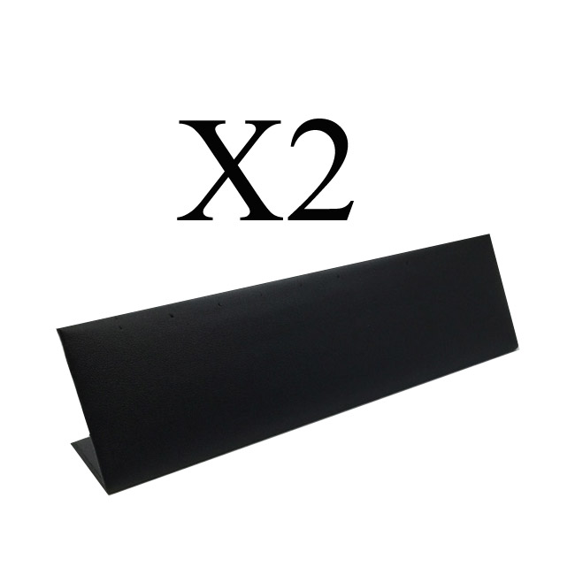 2 x Premium Black Soft Padded Leatherette Earring Display Stand. Holds 5 Pairs. Dim 200(W) x 35(D) x 50mm(H).