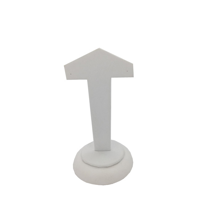 Premium White Leatherette Earring Display. Height 95mm