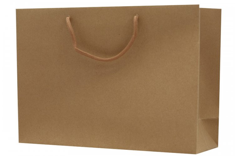 Large Brown Boutique Paper Bags Pack 25. Dimensions 380mm(W) x 120mm(G) x 270mm(H).