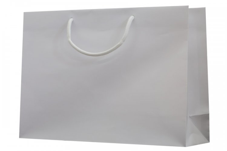 Large White Boutique Paper Bags Pack 25. Dimensions 380mm(W) x 120mm(G) x 270mm(H).