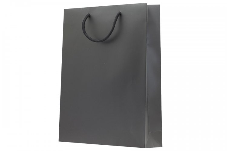 Large Black Boutique Paper Bags Pack 25. Dimensions 315mm(W) x 100mm(G) x 420mm(H).