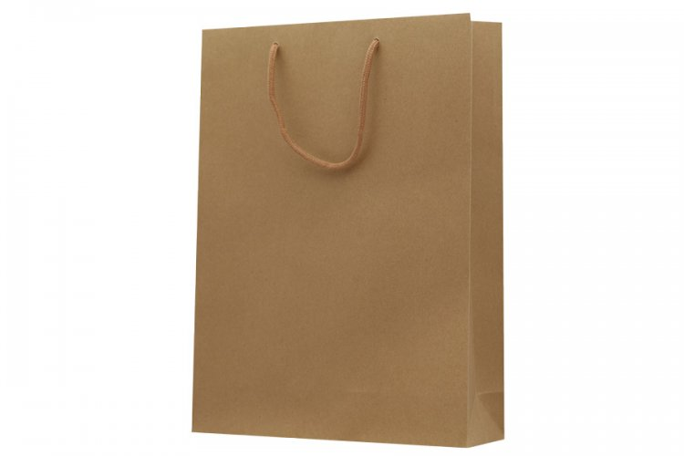 Large Brown Boutique Paper Bags Pack 25. Dimensions 315mm(W) x 100mm(G) x 420mm(H).