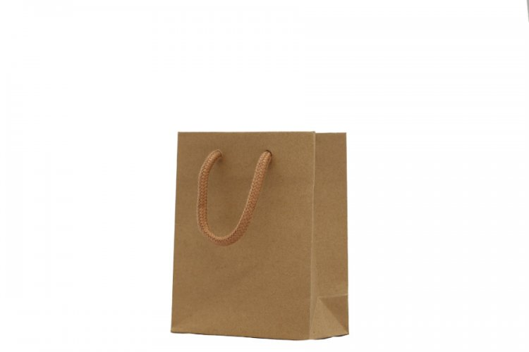 Small Brown Boutique Paper Bags Pack 25. Dimensions 120mm(W) x 60mm(G) x 150mm(H).