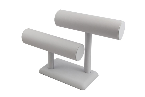 Bracelet Display Stand 2 Row White. Height 190mm and Cylinder Diameter 50mm
