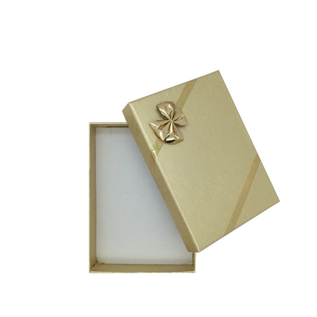 Pack 12 - Small Solid Premium Gold Cardboard Necklace/Pendant or Earring and Ring Set Gift Box with Gold Bow. Dim 54(w) x 80(d)