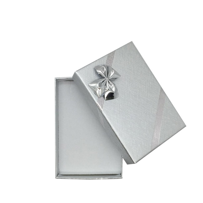 Pack 12 - Small Solid Premium Silver Cardboard Necklace/Pendant or Earring Gift Box with Silver Bow. Dim 54(w) x 80(d) x 22mm(h