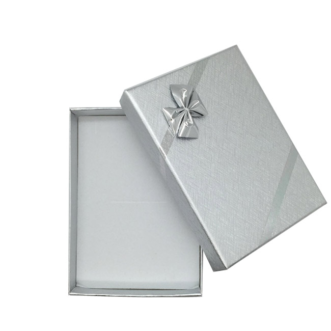 Pack 12 - Medium Solid Premium Silver Cardboard Necklace, Earring and Ring Set Gift Box with Silver Bow. Dim 70(w) x 100(d) x 30