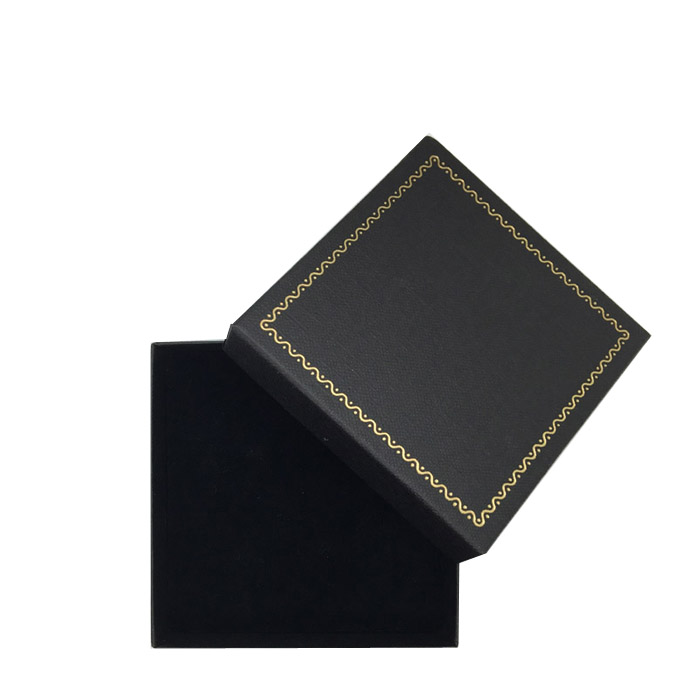 Packet of 12 - Premium Solid Black Cardboard Bangle Gift Box with Gold Trim Border. Dim 85(w) x 85(d) x 30mm(h).