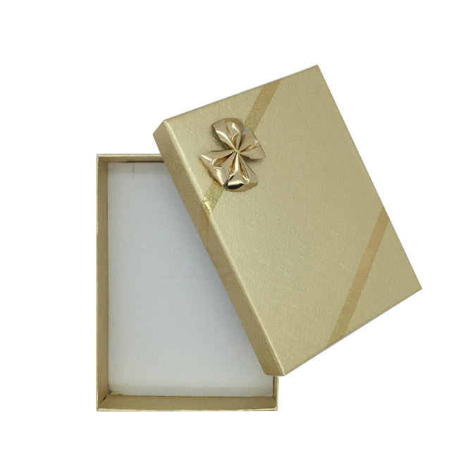 Pack 12 - Medium Solid Premium Gold Cardboard Necklace, Earring and Ring Set Gift Box with Gold Bow. Dim 70(w) x 100(d) x 30mm(h