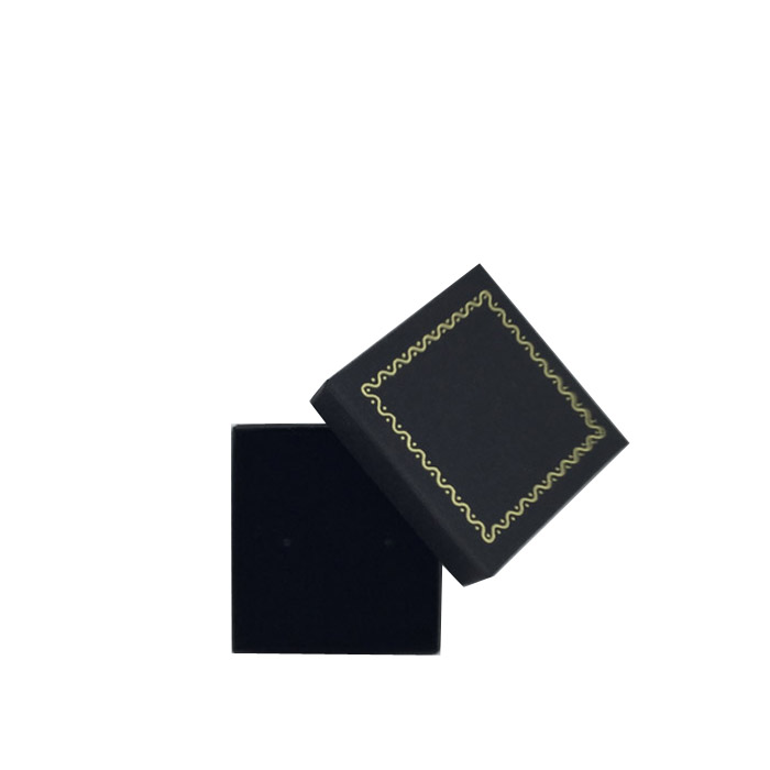 Packet of 24 - Premium Solid Small Black Cardboard Earring Stud Gift Box with Gold Trim Border. Dim 50(w) x 50(d) x 20mm(h).
