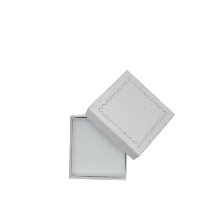 Packet of 24 - Premium Solid Small White Cardboard Earring Stud Gift Box with Silver Trim Border. Dim 50(w) x 50(d) x 20mm(h).