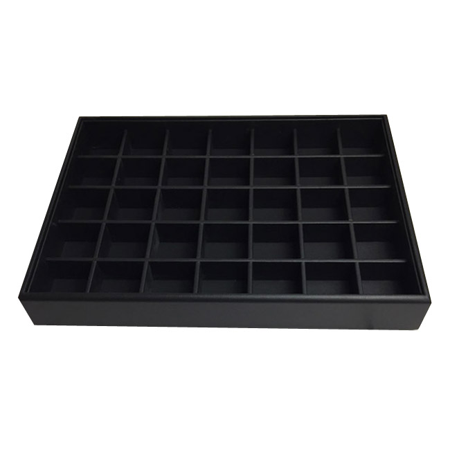 1 x Black Premium Leatherette Display Tray With 35 Compartments. Stackable. Dim 315(w) x 225(d) x 45mm(h).