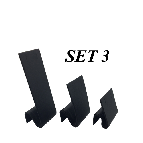 Set of 3 Black Leatherette Earring/Necklace Displays. Width 40mm and Height 100mm, 65mm and 43mm.