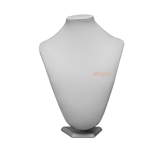 Necklace Bust Display - Height 220mm. White Leatherette