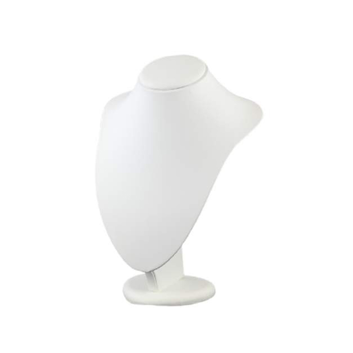Premium Medium White Leatherette Necklace Display Bust. Dimension 190 W x 160 D x 270mm H