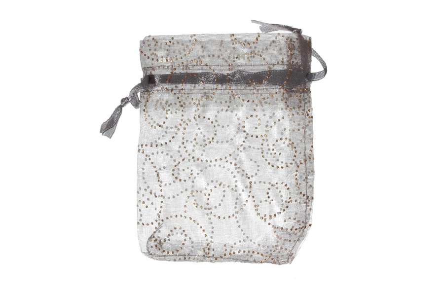 Silver with silver pattern swirls. Measurements 11cm(W) x 16cm(H). Pack of 100 Organza Bags.