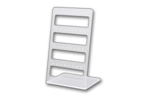 Earring Display Stand Frost Acrylic. Dimensions 100mm(W) x 162mm(H). Holds16 pairs.