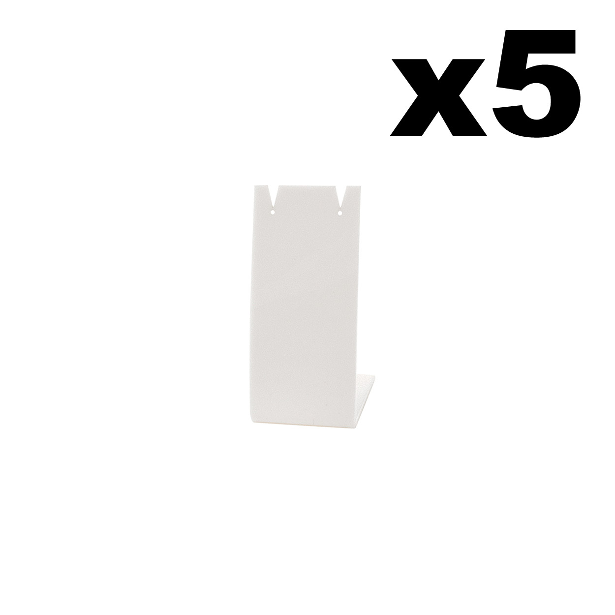Angled Acrylic Earring Display Stand in White. pack of 5. Height 73mm.