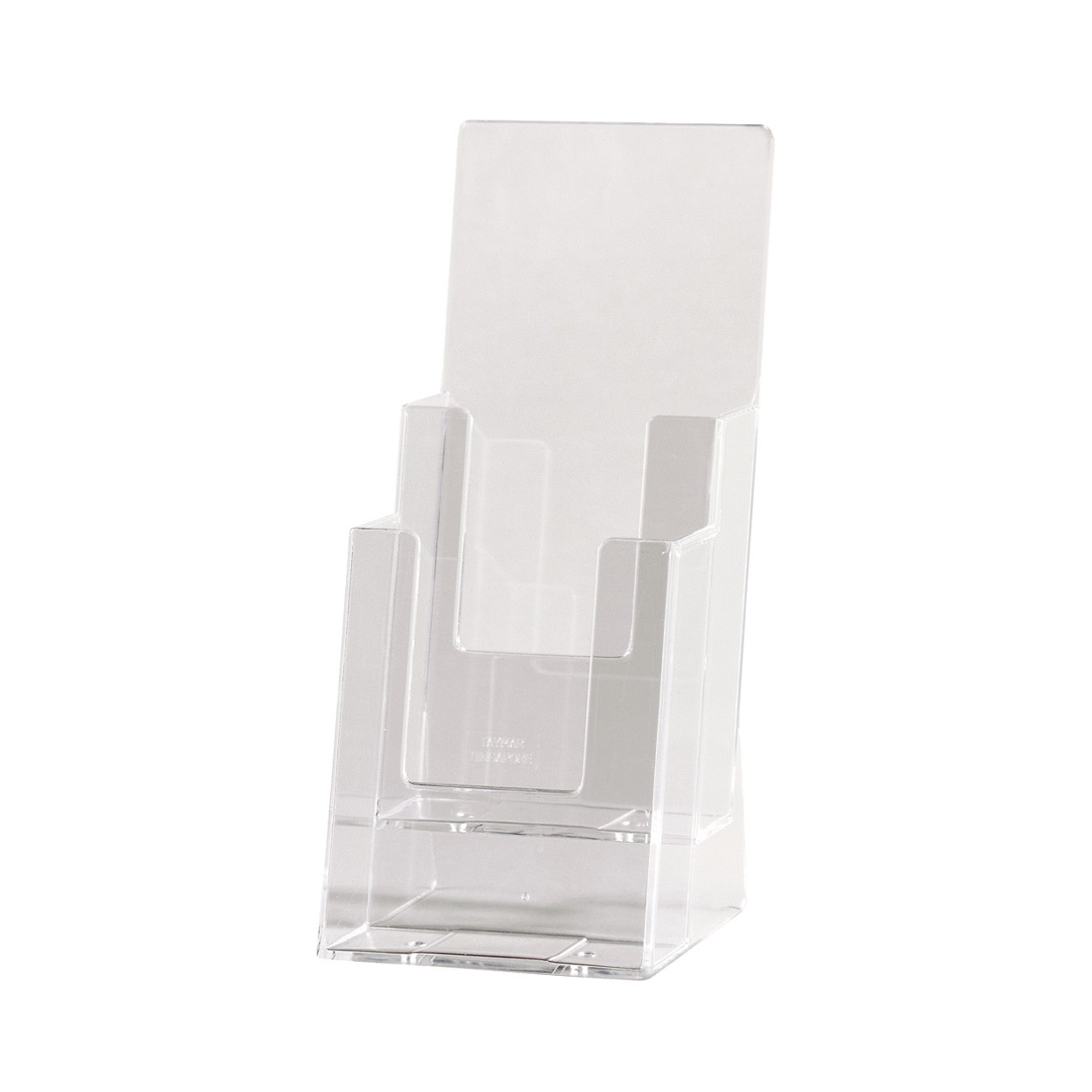 Acrylic Freestanding brochure holder Double Level DL Size. Dimension 210 H x 115 W x 105mm D