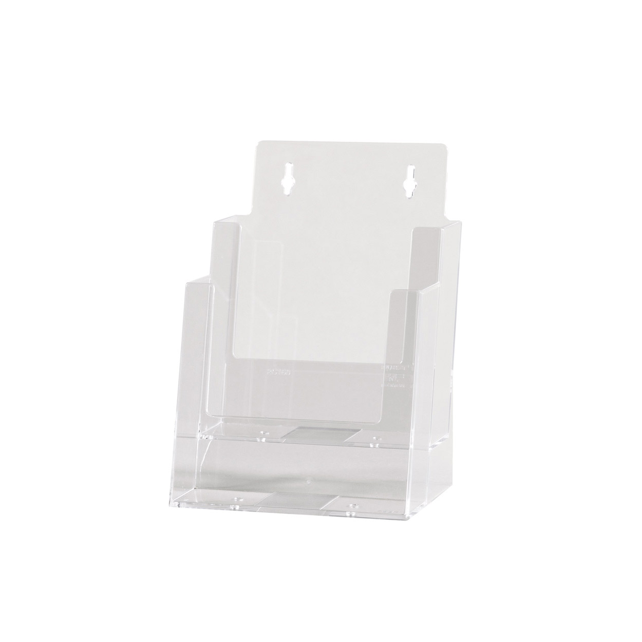 Acrylic Freestanding brochure holder Double Level A5 Size. Dimension 195 H x 170 W x 130mm D