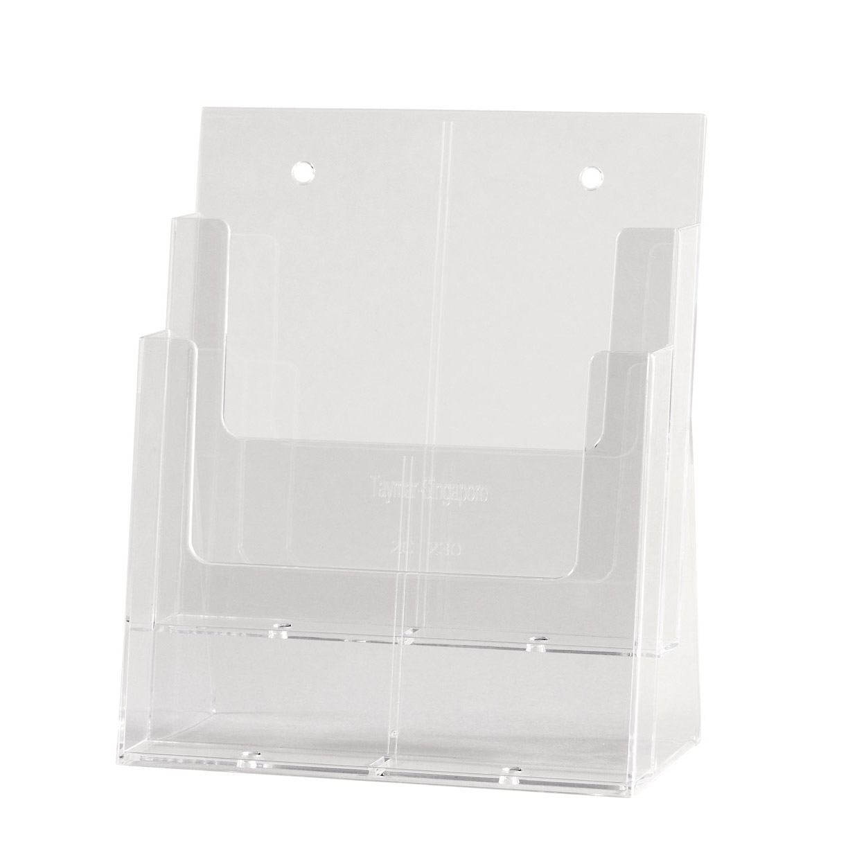 Acrylic Freestanding brochure holder Double Level A4 Size. Dimension 260 H x 240 W x 130mm D