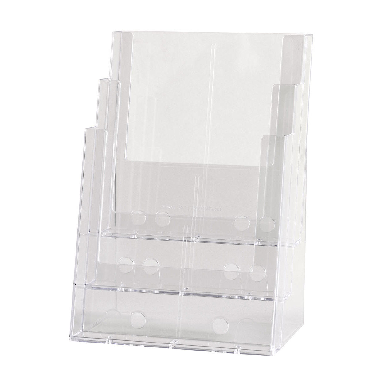 Acrylic Freestanding brochure holder Triple Level A4 Size. Dimension 320 H x 240 W x 280mm D