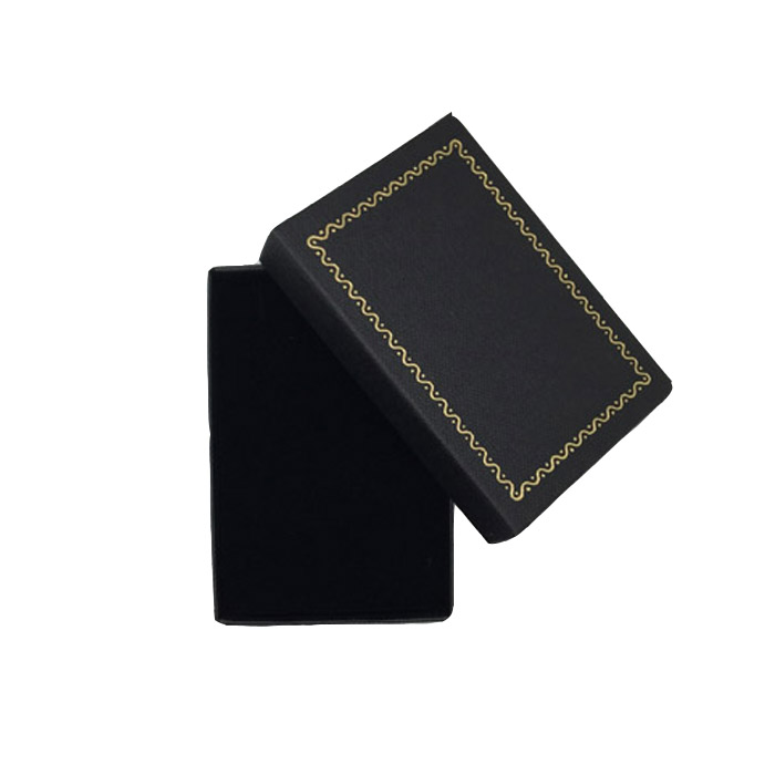 Packet of 24 - Premium Solid Small Black Cardboard Earring Gift Box with Gold Trim Border. Dim 54(w) x 80(d) x 23mm(h).