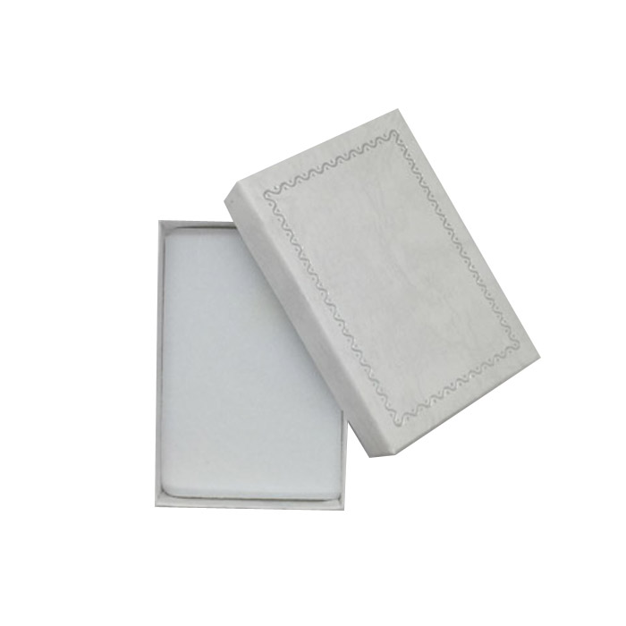 Packet 24 - Premium Solid Small White Cardboard Earring Box with Silver Trim and Light Grey Grain Texture. Dim 54(w) x 80(d) x 2