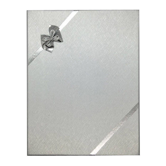 Pack 12 - Large Solid Premium Silver Cardboard Set Gift Box with Silver Bow. Dim 125(w) x 163(d) x 30mm(h).