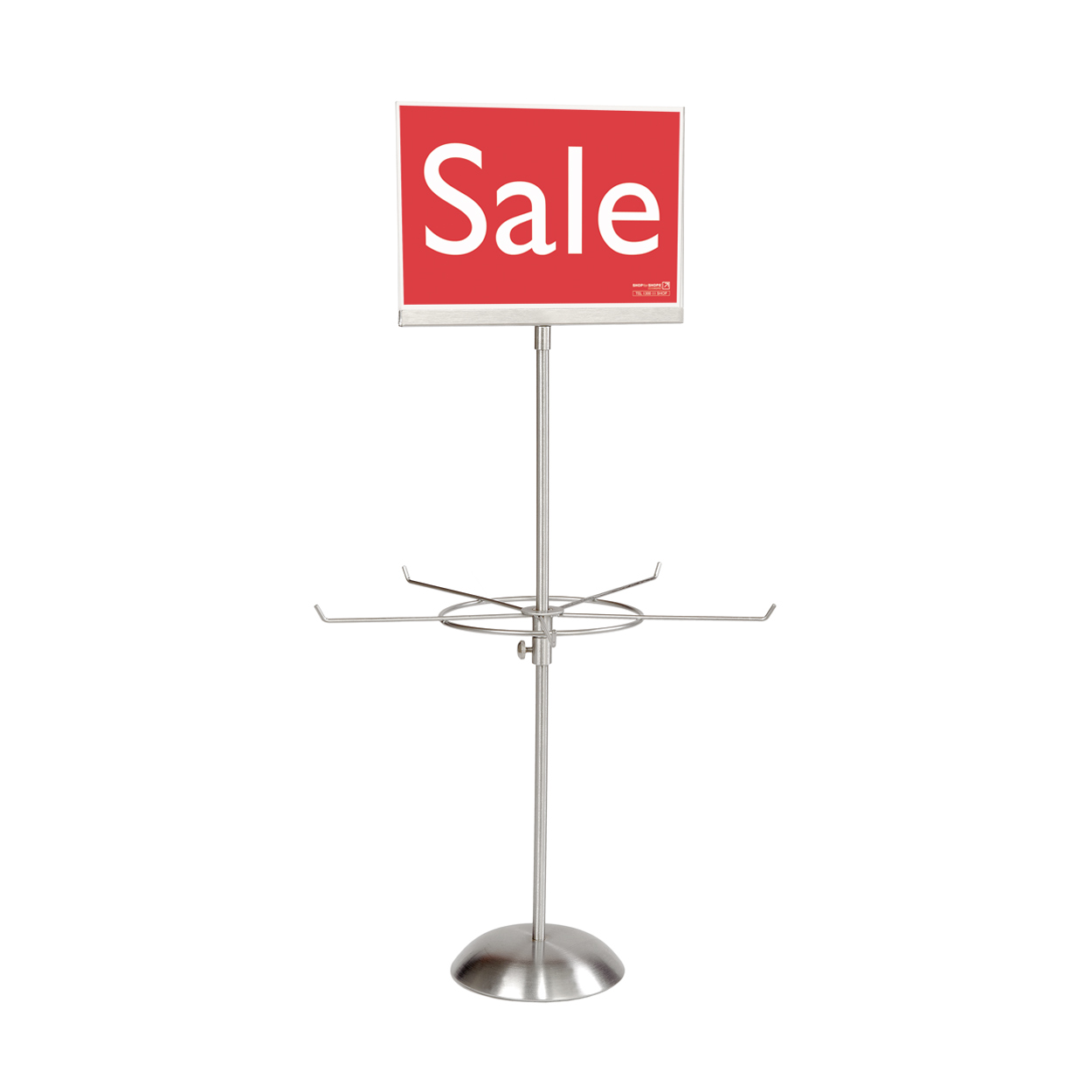 Premium Jewellery Display Spinner with chrome finish - 5 Prong With Sign