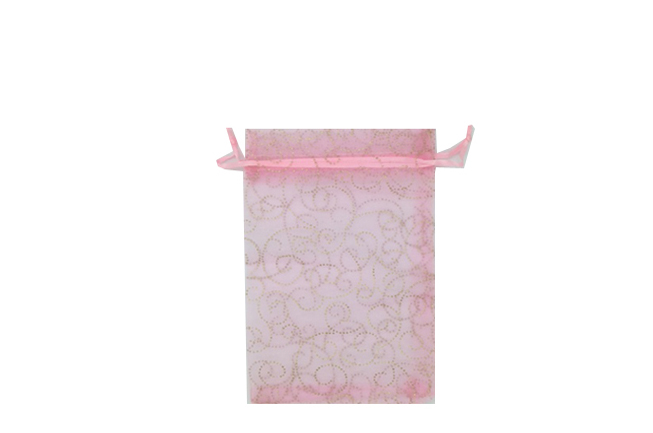 Pink with Pattern Swirls Organza Bags. Pack of 100. Dimensions 7cm(W) x 9.5cm(H). - Click Image to Close