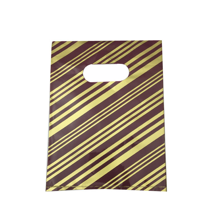 Pack of 100 Medium Plastic Bags With Maroon and Gold Stripes and Die Cut Handle. Dim 220(w) x 330mm(h).