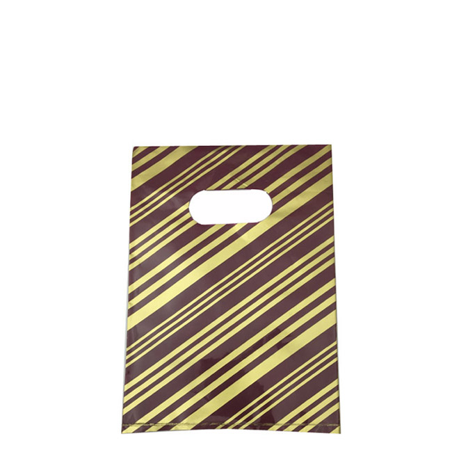 Pack of 100 Small Plastic Bags With Maroon and Gold Stripe and Die Cut Handle. Dim 150(w) x 200mm(h).