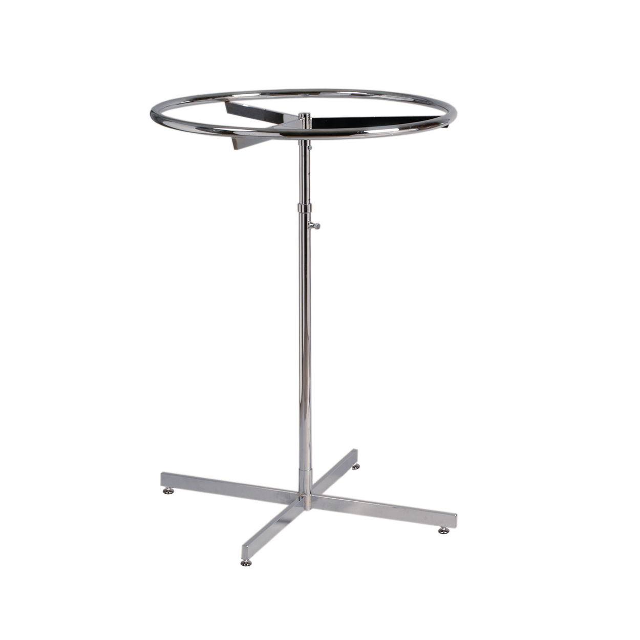 Round Clothes Rack on Glides. Dimensions 840mm Diameter and 1063-1519mm Adjustable Height