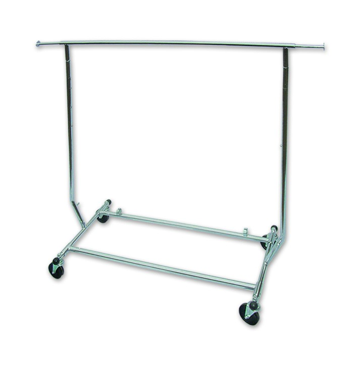 Collapsible Clothes Rack Single Rail. Dim - 1276-1890 W x 1319-1700H x 560mmD