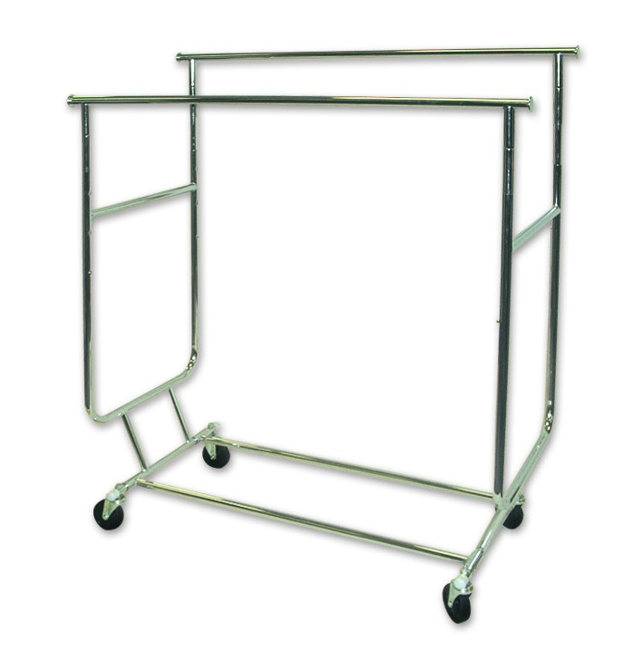 Collapsible Clothes Rack Double Rail. Dim - 1276-1884mm W x 1383-1637mm H x 605mm D