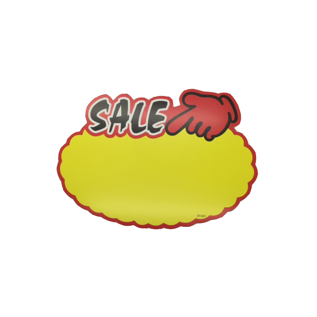Yellow and Red Oval Sale Sign - Packet of 10
