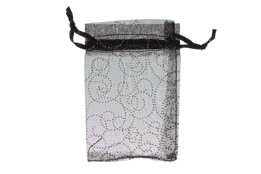 Black with pattern swirls. Dimensions 15cm(W) x 20cm(H). Pack of 100 Organza Bags.