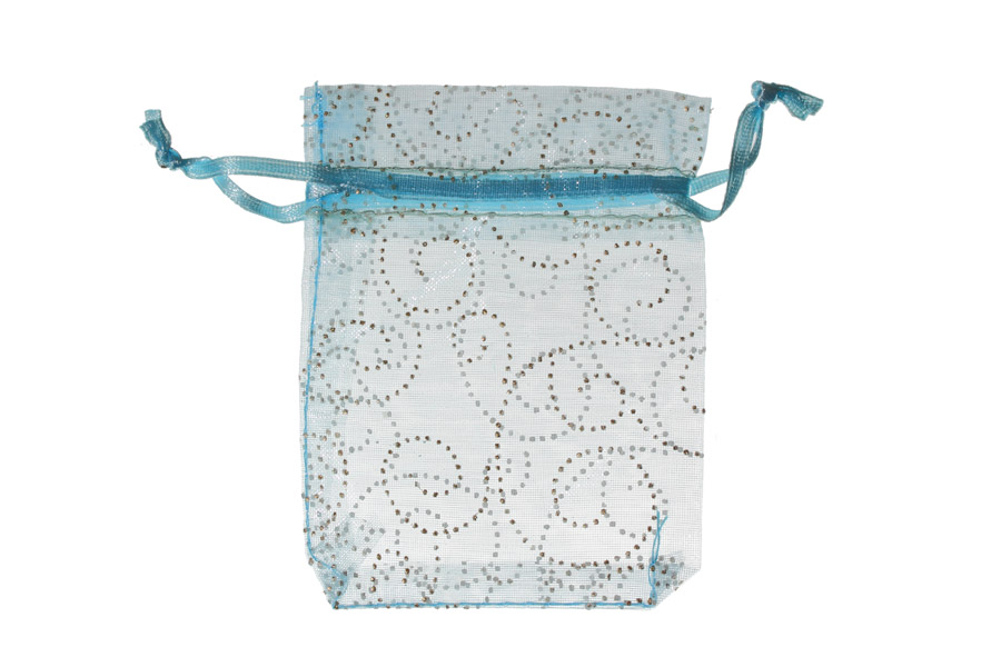 Blue with pattern swirls. Measurements 11cm(W) x 16cm(H). Pack of 100 Organza Bags.