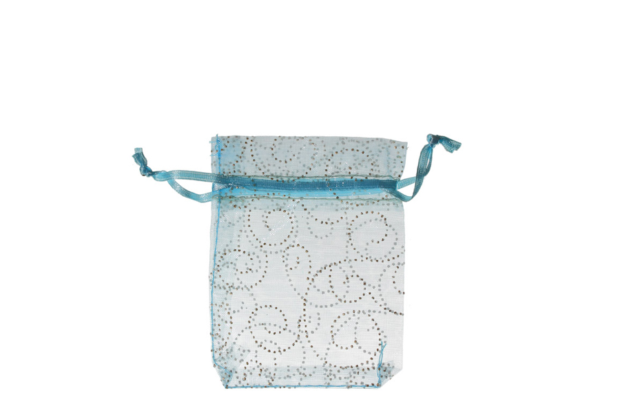 Blue with Pattern Swirls Organza Bags. Pack of 100. Dimensions 9cm(W) x 13cm(H).