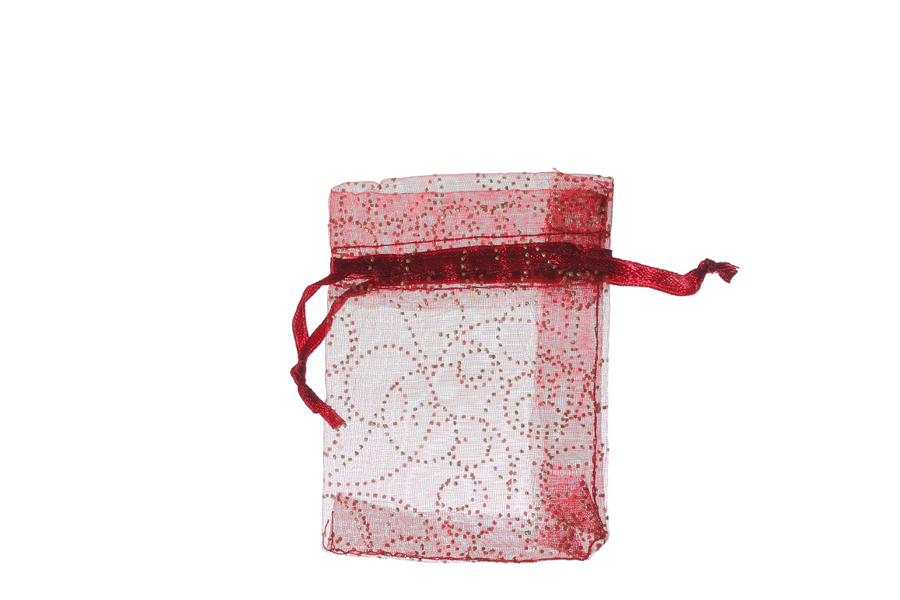 Red-Burgundy with Pattern Swirls Organza Bags. Pack of 100. Dimensions 9cm(W) x 13cm(H).