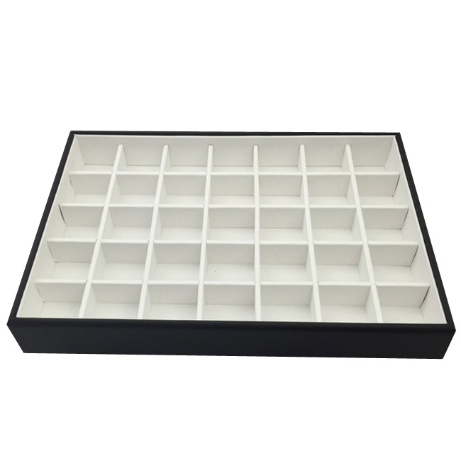 1 x Black and White Premium Leatherette Display Tray With 35 Compartments. Stackable. Dim 315(w) x 225(d) x 45mm(h).