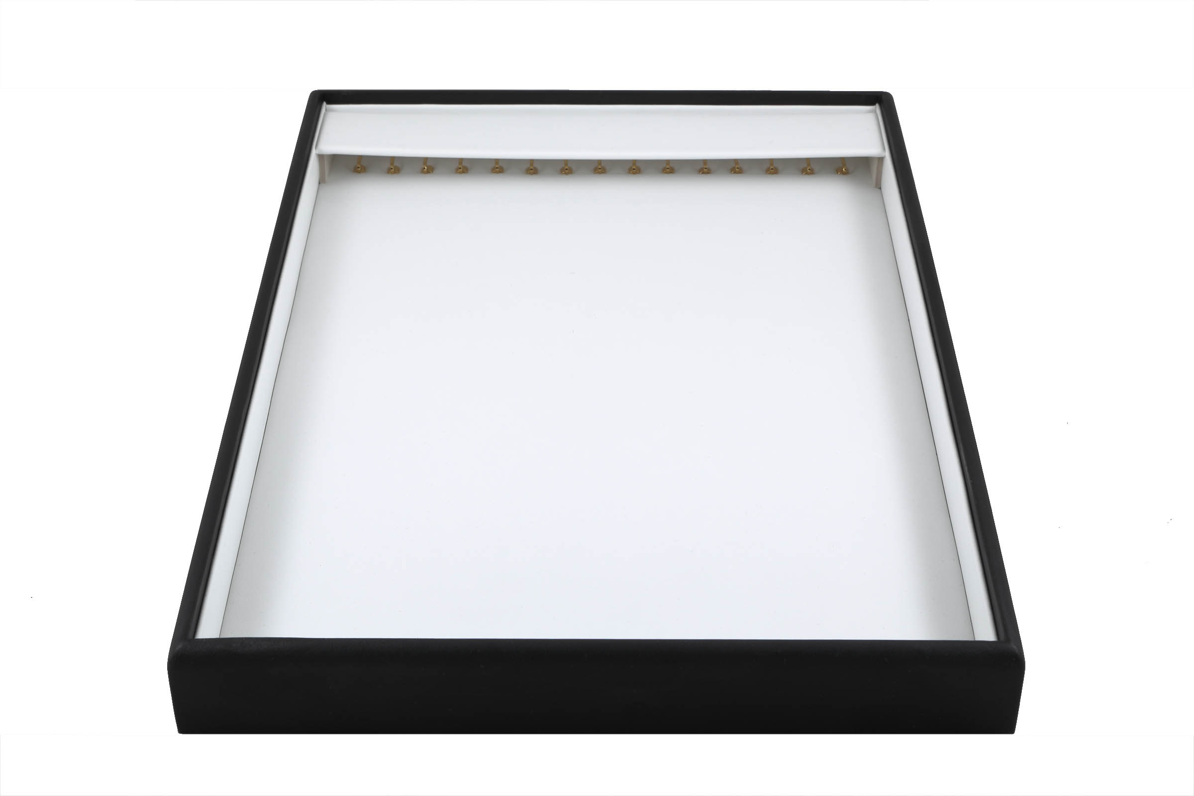 1 x Black and White Premium Soft Padded Leatherette Necklace or Bracelet Display Tray. Stackable. Dim 315(w) x 225(d) x 30mm(h).