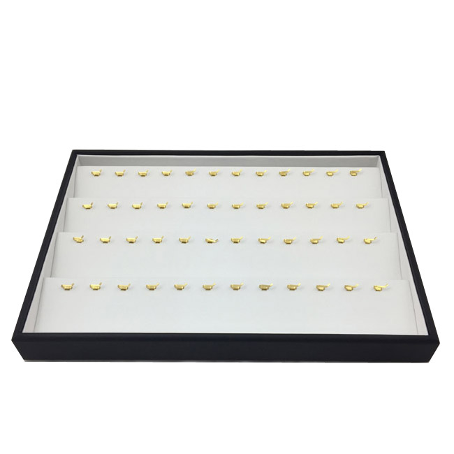 1 x Black and White Premium Soft Padded Leatherette Pendant Display Tray. Holds 48. Stackable. Dim 315(w) x 225(d) x 40mm(h).