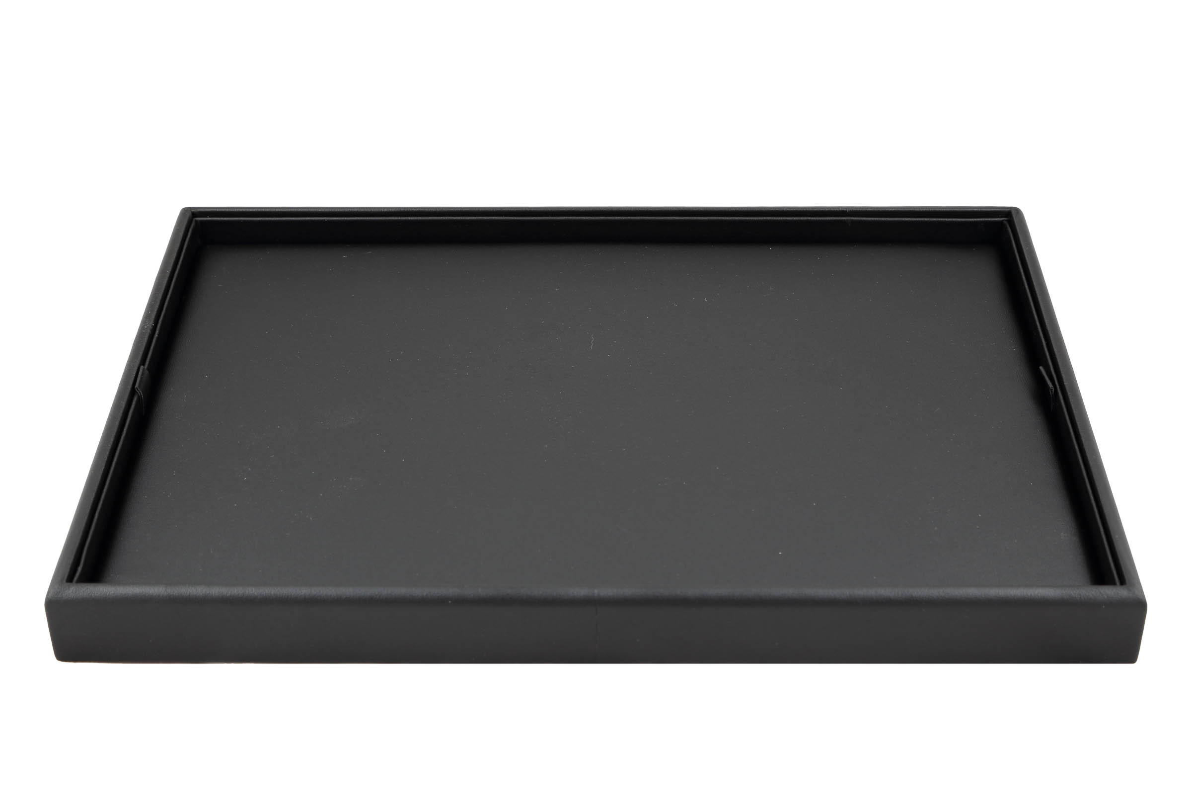 1 x Black Premium Soft Padded Leatherette Plain Presentation Tray. Stackable. Dim 315(w) x 225(d) x 27mm(h).