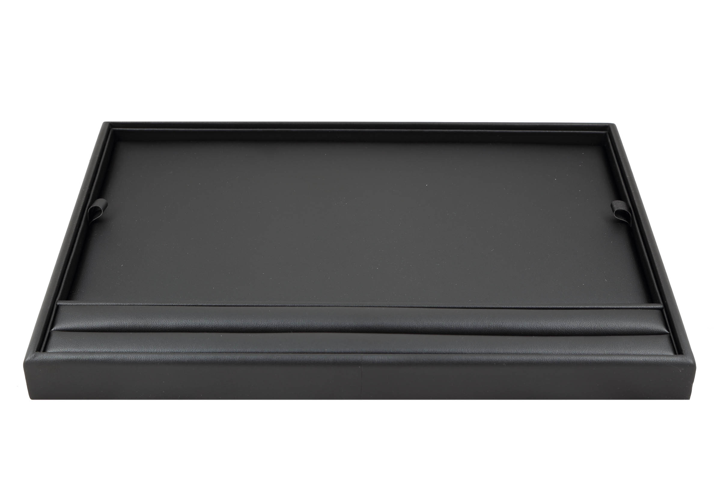 1 x Black Premium Soft Padded Leatherette Presentation Tray With Grooves To Display Rings. Stackable. Dim 315(w) x 225(d) x 27mm